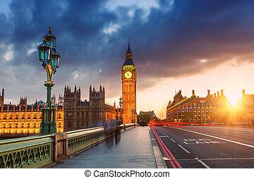 cielna ben, zachód słońca, londyn