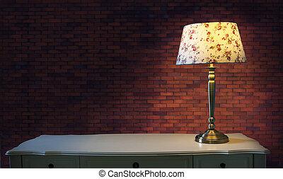 cielna, ceglana ściana, i, lekki, lampa, na białym, stół