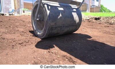 cielna, closeup, strzał, gleba, wałek, ciężki, ziemia, ruch...
