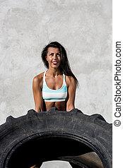 cielna, dziewczyna, sporty, ruch, tire.