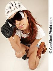 cielna, dziewczyna, sunglasses, chłodny