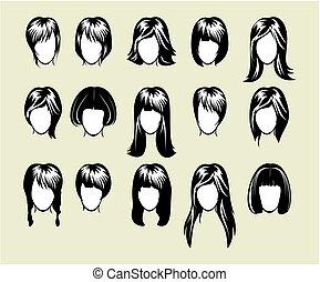 cielna, fryzura, zbiór