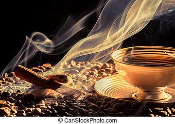 cielna, kawa, aromat, mały, filiżanka