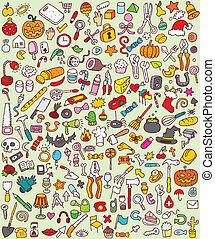 cielna, komplet, doodle, ikony