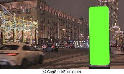 cielna osłaniają, holiday., ulica, zielony, tablica ogłoszeń, ozdobny