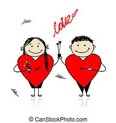 cielna, para, valentine, day., projektować, serca, twój, czerwony