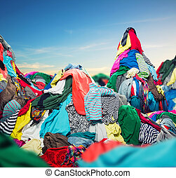 cielna, stos, barwny, odzież