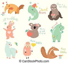 cielna, wektor, komplet, od, zabawny, rysunek, zwierzęta