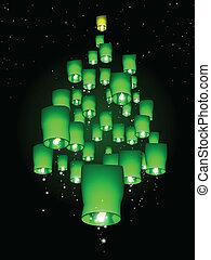 cielo, árbol, navidad, linterna