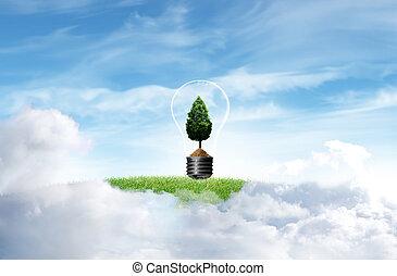 cielo, albero, sfondo verde, erba, nuvola