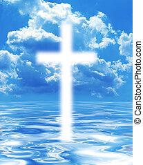 cielo, aparecer, cruz, salida del sol