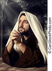cielo, arriba, jesús, mirar, llantos, mientras, rezando, él
