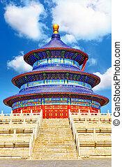 cielo, -, asombroso, maravilloso, beijing., templo