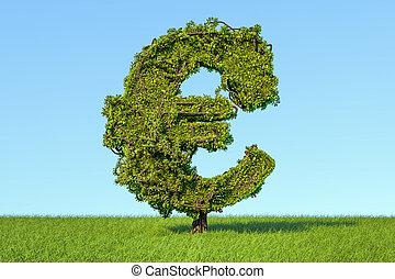 cielo azul, arbol dinero, contra, señal, interpretación, forma, verde, euro, pasto o césped, 3d