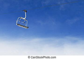 cielo azul, brillante, levantamiento, silla, esquí