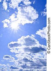 cielo azul, brillar, sol