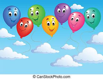 cielo azul, con, inflable, globos, 2