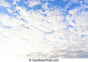 cielo azul, con, nube, en, el, morning.