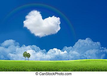 cielo azul, con, nubes, y, un, arco irirs