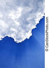 cielo azul, con, sunrays