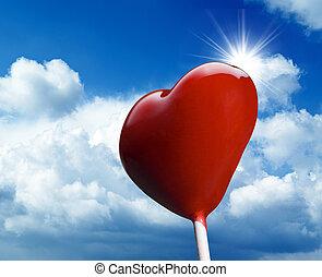 cielo azul, en forma de corazón, chupete