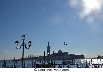 cielo azul, iglesia, venecia, río