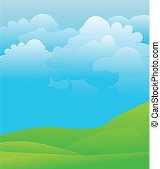 cielo azul, ilustración