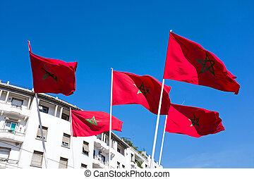 cielo azul, marroquí, marruecos, banderas, contra