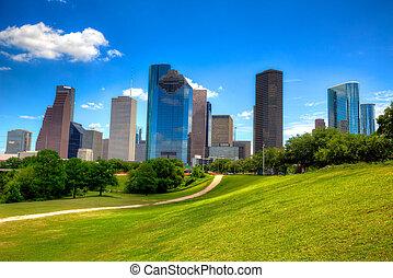 cielo azul, moderno, rascacielos, contorno, houston, tejas