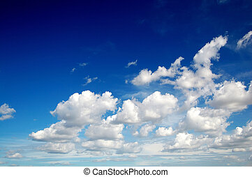 cielo azul, nubes, como, algodón
