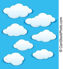 cielo azul, nubes, conjunto, blanco