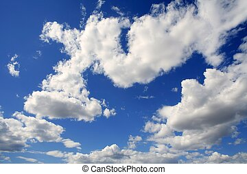 cielo azul, nubes, día