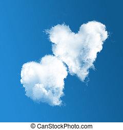 cielo azul, nubes, dos, en forma de corazón