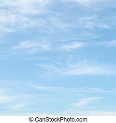 cielo azul, nubes, luz