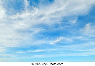 cielo azul, nubes, plumose