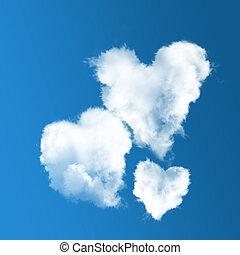cielo azul, nubes, tres, en forma de corazón