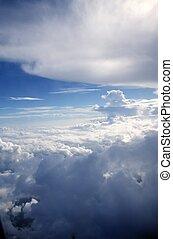 cielo azul, nubes, vista, de, aircarft, avión