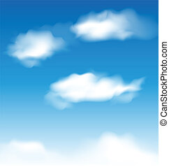 cielo azul, papel pintado, nubes, realista