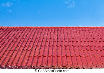 cielo azul, techo, contra, rojo