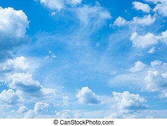 cielo azul, velloso, nubes, blanco