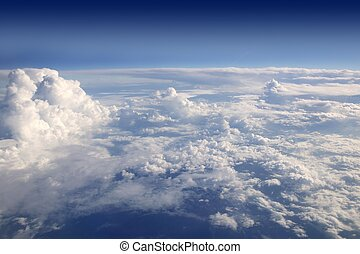 cielo azul, vista, de, avión, avión