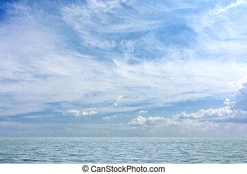 cielo azul, y, mar
