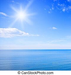cielo azul, y, océano