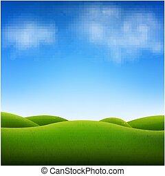 cielo azul, y, paisaje