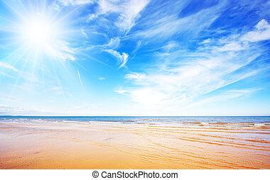 cielo azul, y, playa