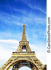cielo azul, y, torre eiffel, foto