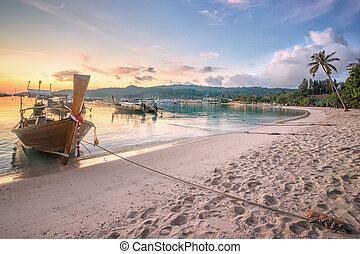 cielo, barco, playa, ocaso, colorido