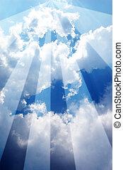 cielo, bianco, blu, nuvola