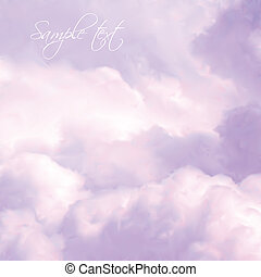 cielo blanco, y, rosa, clouds., vector