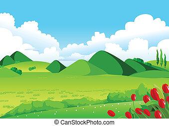 cielo blu, campi, verde, distante, colline